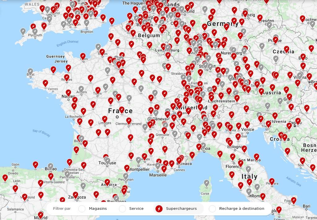 Carte réseau superchargeur tesla janvier 2021