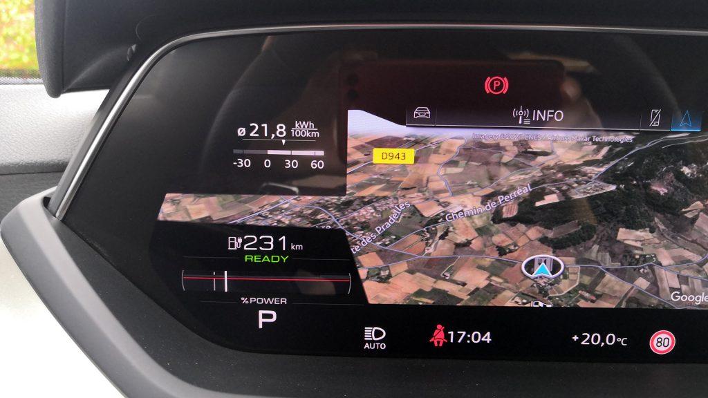 Essai Audi e-tron GT consommation